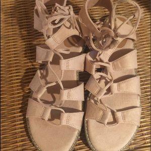 Lace up flat sandals